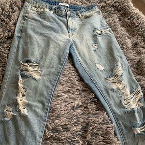 Distressed white wash boyfriend jeans